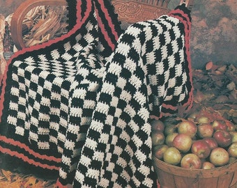 Vintage Crochet Pattern - Checkered Afghan