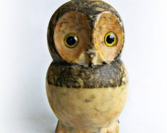 Vintage Owl Sculpture figurine Hand Carved Rock Unsigned Stone Owl , ON SALE , Glass Eyes Natural Stone Owl Sculpture