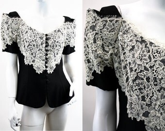 Black and Cream Lace Overlay Corset Style Off The Shoulder Woman's Vintage Top