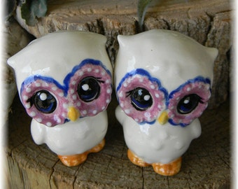 Owl Wedding Cake toppers ceramic  Custom Vintage style   purple and blue