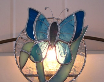 Night Light Beautiful in Blue Stained Glass Butterfly Night Light Glass Butterfly Stained Glass Butterfly Blue Night Light Blue Nightlight