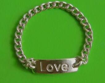 Delicate Sterling Silver Love Chain Link Ring