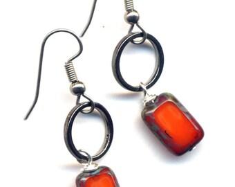 Orange Earrings, Surgical Steel Earrings, Tangerine Earrings, Orange Mod Earrings by AnnaArt72