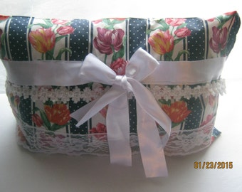 Complete Decorative Pillow Ribbons Lace Colorful Tulips with Blue Borders Shabby Chic Style Floral Ready to Ship Home Decor