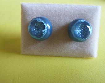 Dichroic Glass Stud Earrings Surgical Steel Hypoallergenic Steel Blue Cross Handmade