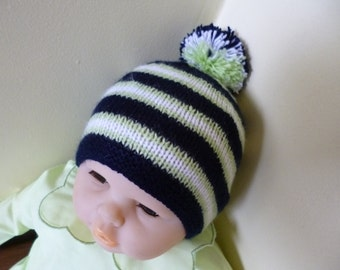 Knitted Newborn Hat, Pom Pom Bonnet, Everyday Wear Hat, Baby Shower Gift, Winter Beanie, Winter Bonnet, Winter Hat, Hats and Caps.