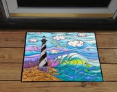 "Hatteras Waves 18"" x 24"" Door Mat, Floor Mat, Home Decor, Kitchen Mat"