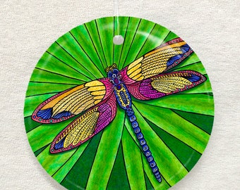 Dragonfly Glass Ornament and Suncatcher