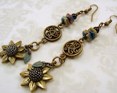 Antique Brass with Peacock Glass and Flower Dangle Earrings