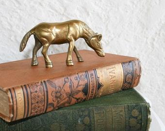 Brass Grazing Horse Figure