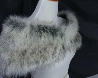 Faux Fur Shrug, Canadian Fox Stone Faux Fur Shawl, Fur Stole, Wedding Shoulder Wrap
