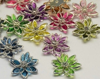 Mixed Flower with Rhinestone Bead/Connector - Set of 4 - #HK1138