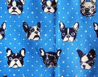 Japanese Oxford Cotton Fabric - French Bulldog Fabric in Blue - Half Yard - Kokka Fabric By The Yard from Japan