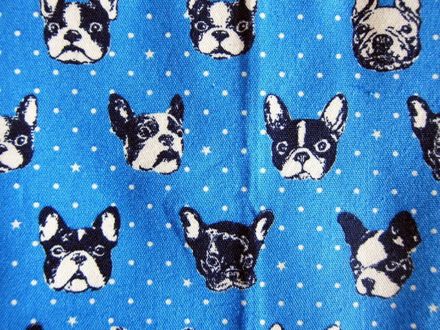 Japanese Fabric Oxford Cotton French Bulldog In Blue