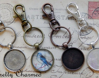 15 Photo Key Chain Kits - 1 Inch Round Pendant Trays, Glass Cabochons and Lobster Clasp Key Chain - Choice of Colors