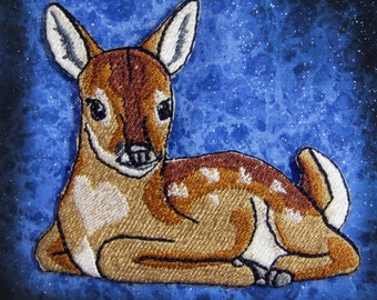 Fawn White Tailed Deer Iron on Patch