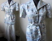 Early 40s  Silver SILK  Asian Jacquard & Charmeuse Chinese Lounge Pajama Set