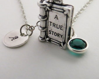 Antique Book Necklace, Fairytale Book Charm, Charm Necklace, Antique Silver Charm Book, Diary Necklace, Gift for Her, Hand Stamped Initial