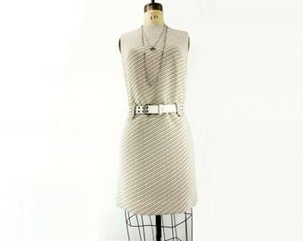 Mod 60s Dress White Vintage Almond Gold Stripe Shift Dress Carnaby Street 1960s Dress / small