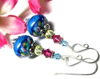 Colorful Earrings Rainbow Earrings Elegant Earrings Lampwork Earrings Glass Earrings Artisan Earrings Beaded Earrings Glass Bead Earrings