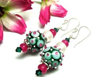 Green Earrings Lampwork Earrings Glass Earrings Beaded Earrings Artisan Earrings Dangle Earrings Handmade Earrings Beaded Earrings
