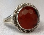 African Carnelian Sterling Silver Ring-Size 8-Dinner Ring- Cocktail Ring Ready to Ship Free US Shipping