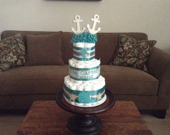 Nautical twins Diaper Cake baby shower centerpiece other styles and sizes colors available