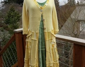 Buttery Yellow sweater coat womens small/medium upcycled wool, cotton and cashmere