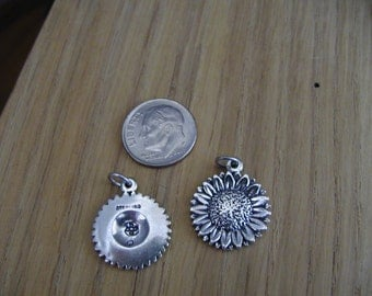 Sunflower Sterling Silver Charm