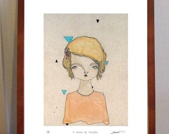 I Dream of Triangles - Print A4 geometric girl portrait