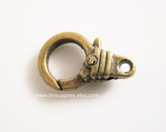 Clasp, Lobster Claw Antiqued Gold, 15x12mm