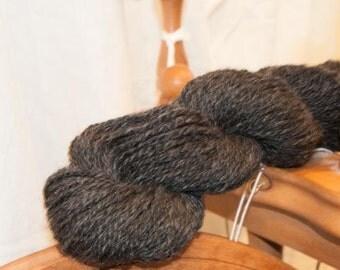Handspun Shetland Yarn. Two ply. Natural Charcoal.  Fiber grown by Ebony.