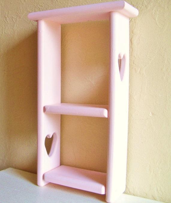 SALE Blush Pink Wood Shelf Wooden Shadow Box Curio Shelves