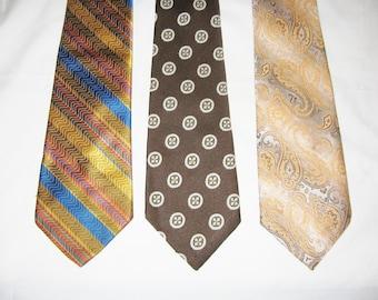 Lot of 3 Wide Vintage Ties 1970s