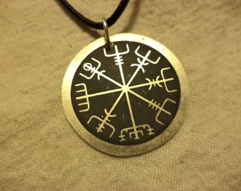 Etched Nickel Silver Viking compass pendant