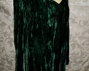 Vintage 80s Green Velvet Dress  Size 11