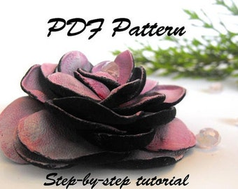 Leather rose tutorial. Leather flower PDF pattetrn.