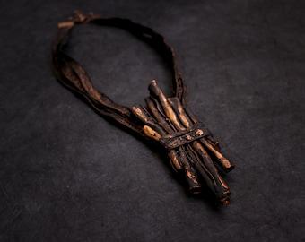 Unique Designer statement leather necklace Copper color Unique leather jewelry