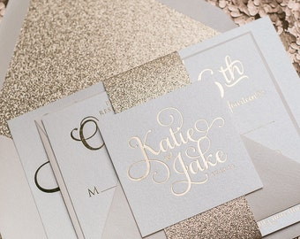 Foil  - Rose Gold Glitter Wedding Invitation - SAMPLE (Adele)