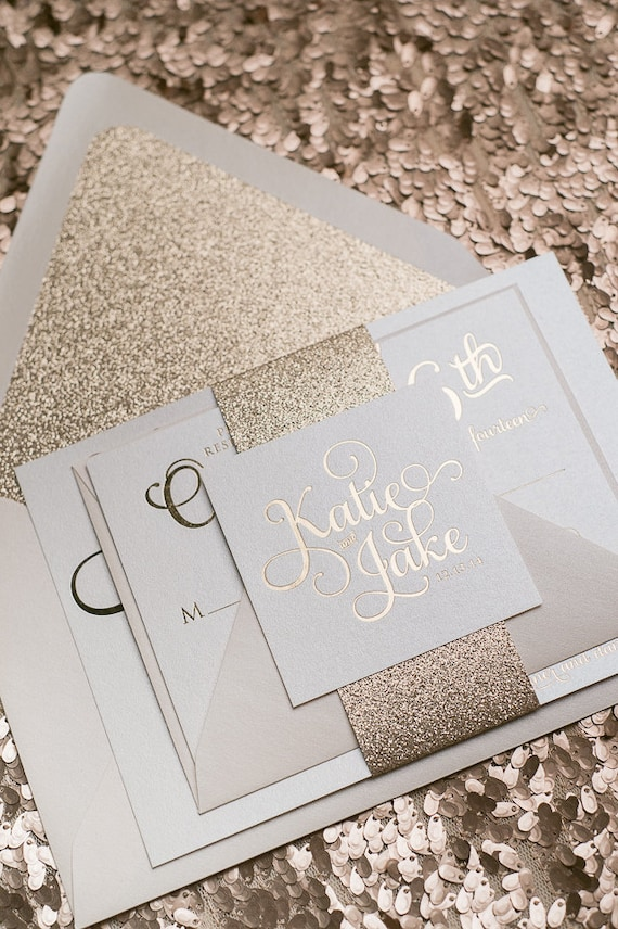 Foil Rose Gold Glitter Wedding Invitation SAMPLE Adele