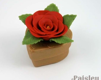 Red Rose Gold Heart keepsake box, mixed media jewelry box