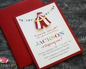 Circus Tent Invitations · A2 LAYERED · Under the Big Top | First Birthday Party | Carnival Baby Shower Invitation | Carnival Party Invites