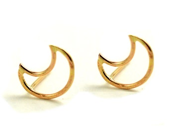 Crescent Moon Earring, Half Moon Studs