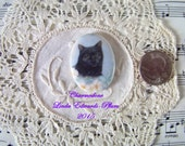 Cameo Darling Black Cat in Flowers 40x30 Porcelain Hand Applied Fired Decal ECS
