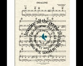 Imagine Song Lyric Sheet Music Art Print, John Lennon Music Art Print, Spiral Song Lyrics Art, The Beatles Music Art