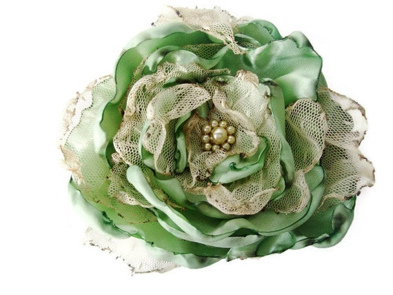 Sage Green Flower Accessory, Wedding Hair Flower, Bridal Sash, Maternity Sash, Hair Accessory