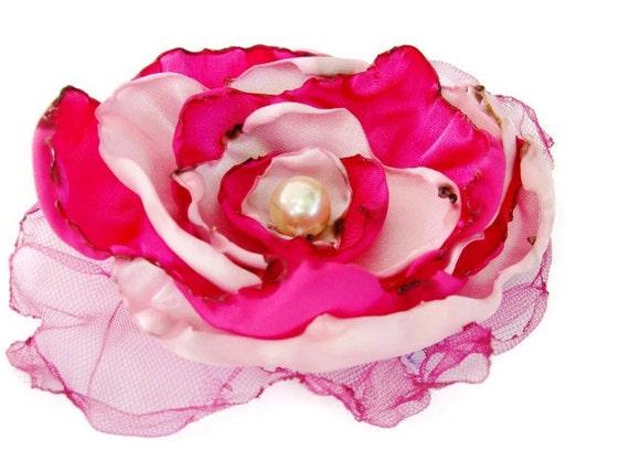 Wedding Hair Flower, Pink and Fuchsia Flower Accessory, Bridal Sash, Maternity Sash, Fascinator