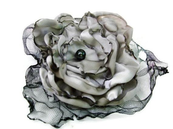 Wedding Hair flower, Grey Flower Accessory, Hair Clip or Brooch, Made To Order
