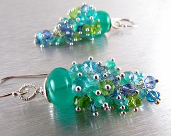 Green Onyx and Apatite, Peridot, and Quartz Gemstone Cluster With Sterling Silver Dangle Earrings