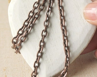 Mens Copper necklace chain, choose 14 inch - 40 inch unisex chain, 6mm long link, nice patina, strong heavy copper plated mens necklace SF55